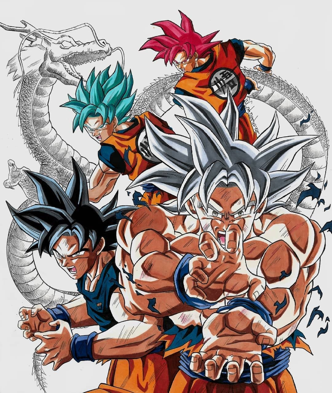 Goku Y Sus Transformaciones De Dragon Ball Super Dragon Ball Gt Personajes De Dragon Ball Personajes De Goku