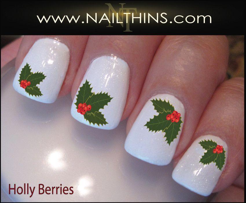 Holly Berry Nail Decal Holly Berries Holiday Nail Art   Holiday nail ...