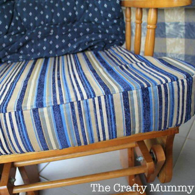 Step by step tutorial on how to cover a chair cushion by sewing a new cover - with a little baby vomit story thrown in!