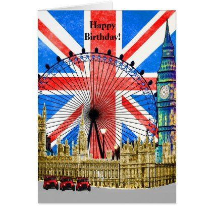 London England Happy Birthday Card