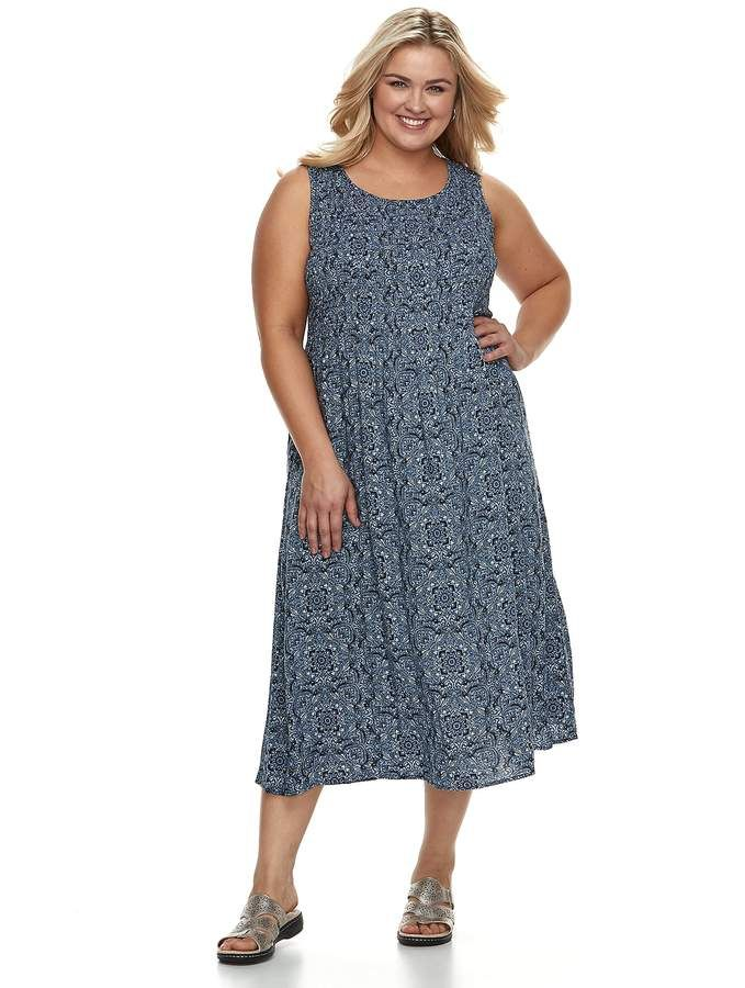 7ef5ab9a482 Croft   Barrow Plus Size Smocked Tank Dress