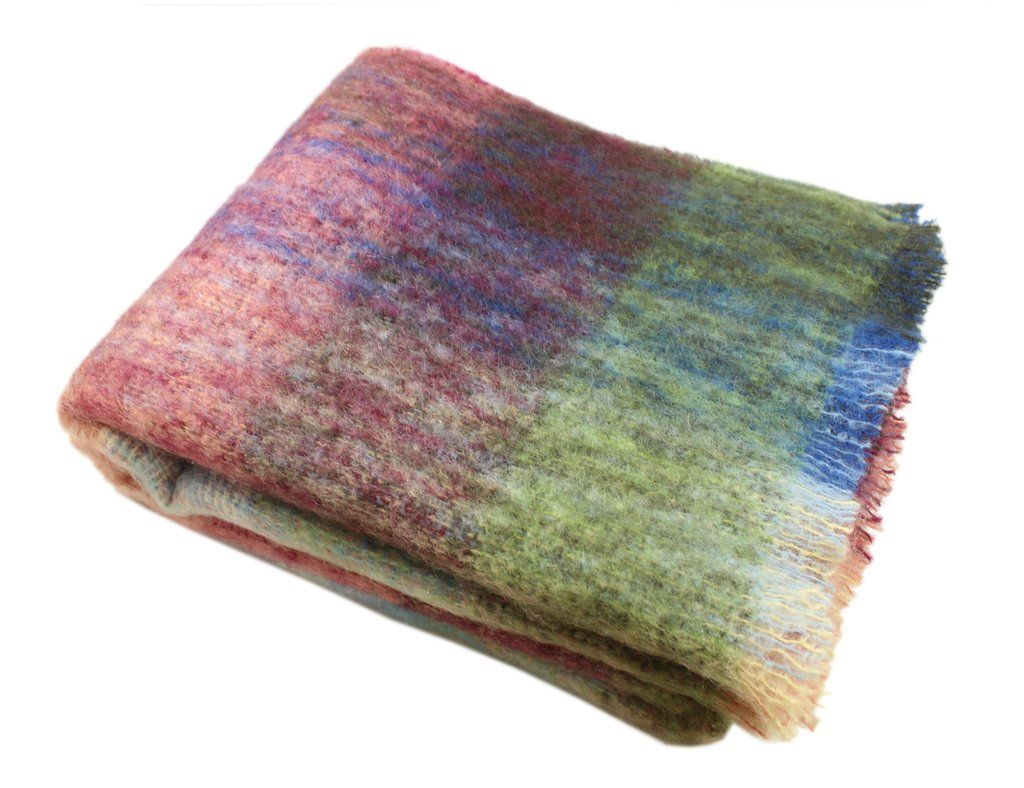 Throw Blanket Multicolor Mohair 54 X 72 Irish Made Biddy