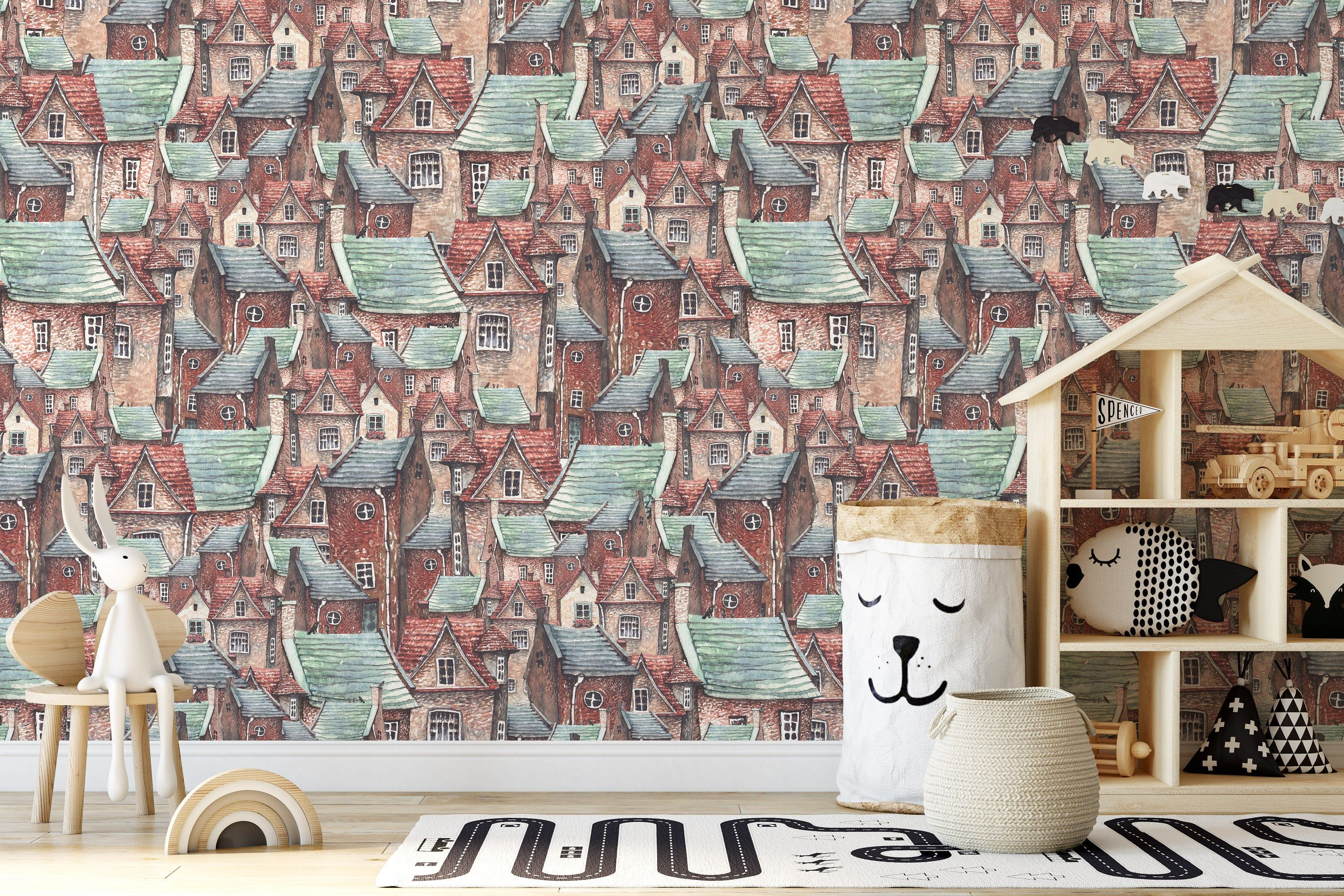 Old Town European Brick Houses And Roofs Background Wallpaper Etsy Kids Room Murals Home Decor Wall Art Peel And Stick Vinyl