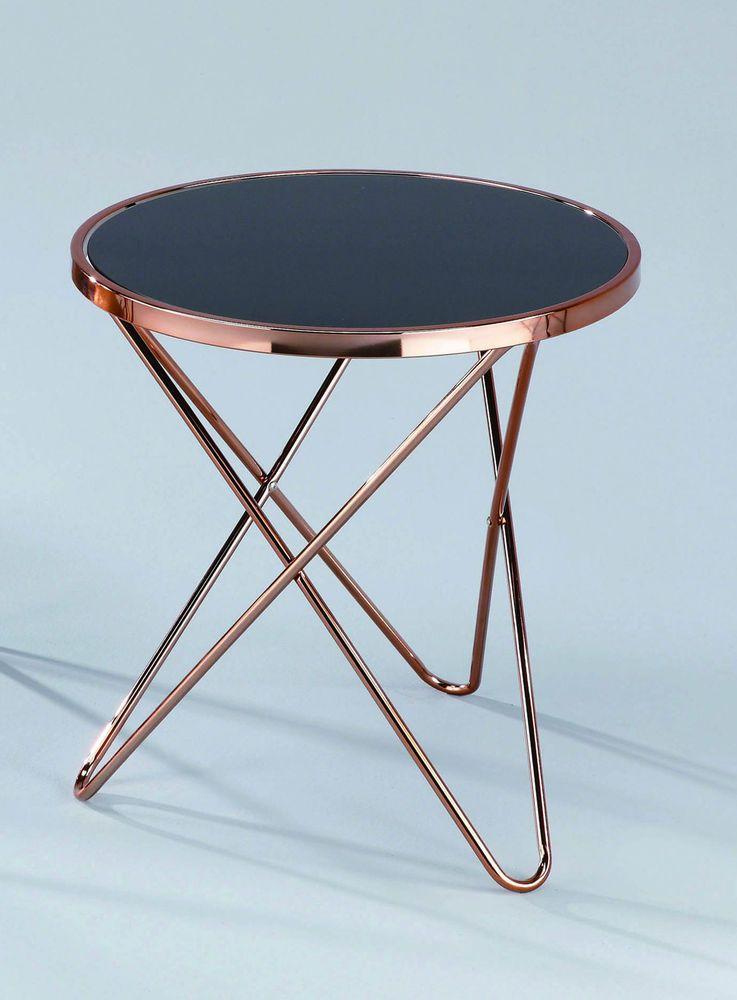 Coffee Table Decore Porto Glass Round Side End Lamp Copper Black