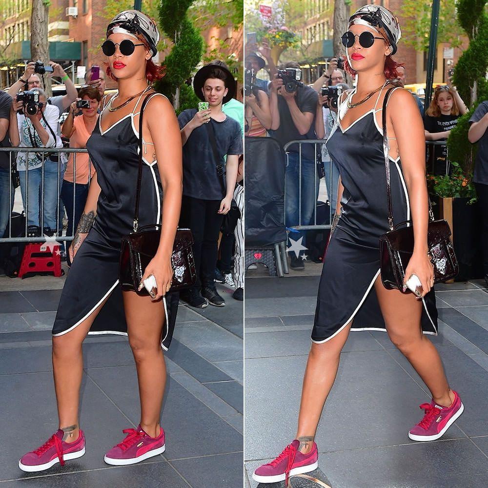 Rihanna Wearing Adam Selman Black Slip Dress Puma Suede Clic Zinfandel Red Sneakers Louis