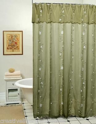 Daisy Fabric Shower Curtain Sage Green New Free S H Green Shower