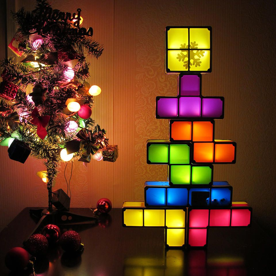 Diy Tetris Puzzle Novelty Led Night Light Stackable Desk Table Lamp Constructible Block Kids Toy S Christmas Gift