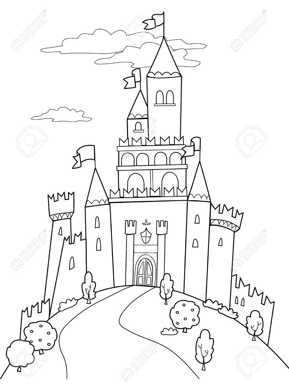 Fairy Tale Castle Black And White Clipart 1 Castle Illustration