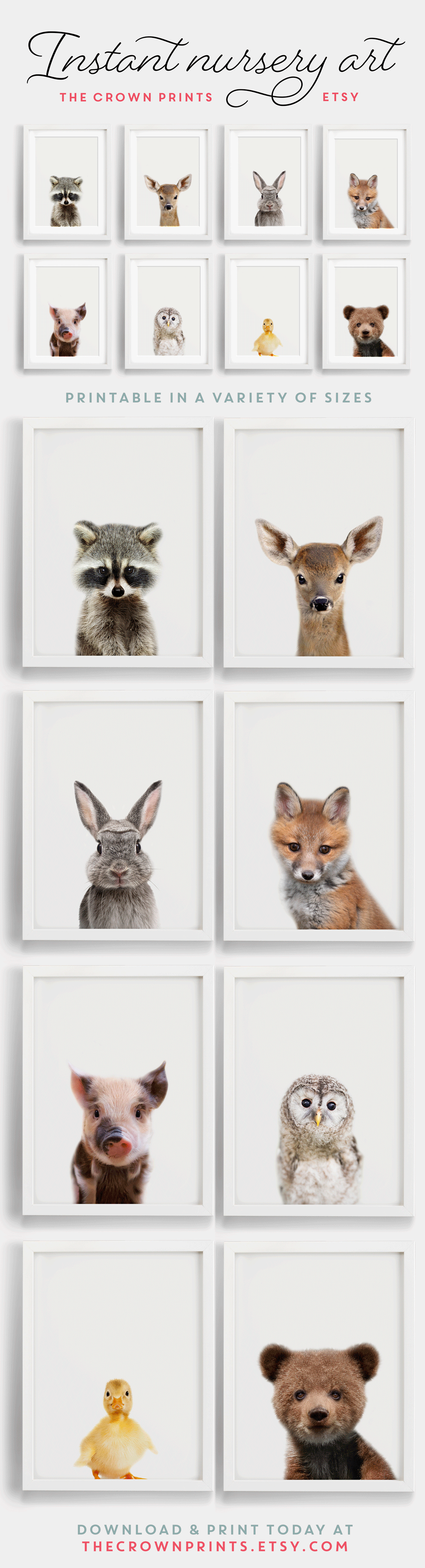 Woodland Animals Nursery Art Printable From Thecrownprints On Etsy