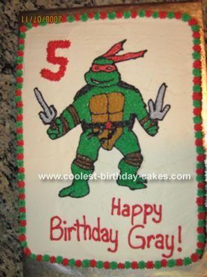 Simple Homemade Ninja Turtle Cake Ninja turtles Turtle and