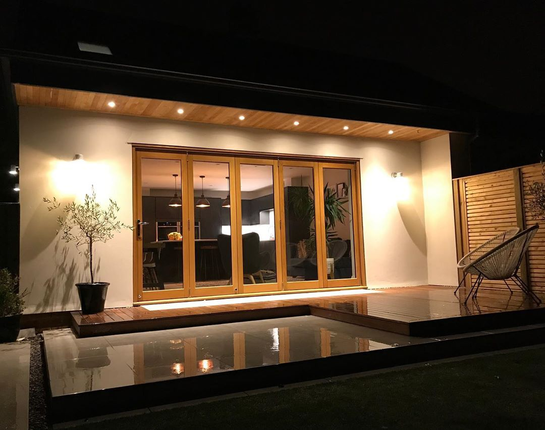 """Em & Rich 🇬🇧 on Instagram: """"All lit up on a wet October evening, how is it October already!! #houseexterior #homeexterior #houseextension #renovation #roofoverhang…"""""""