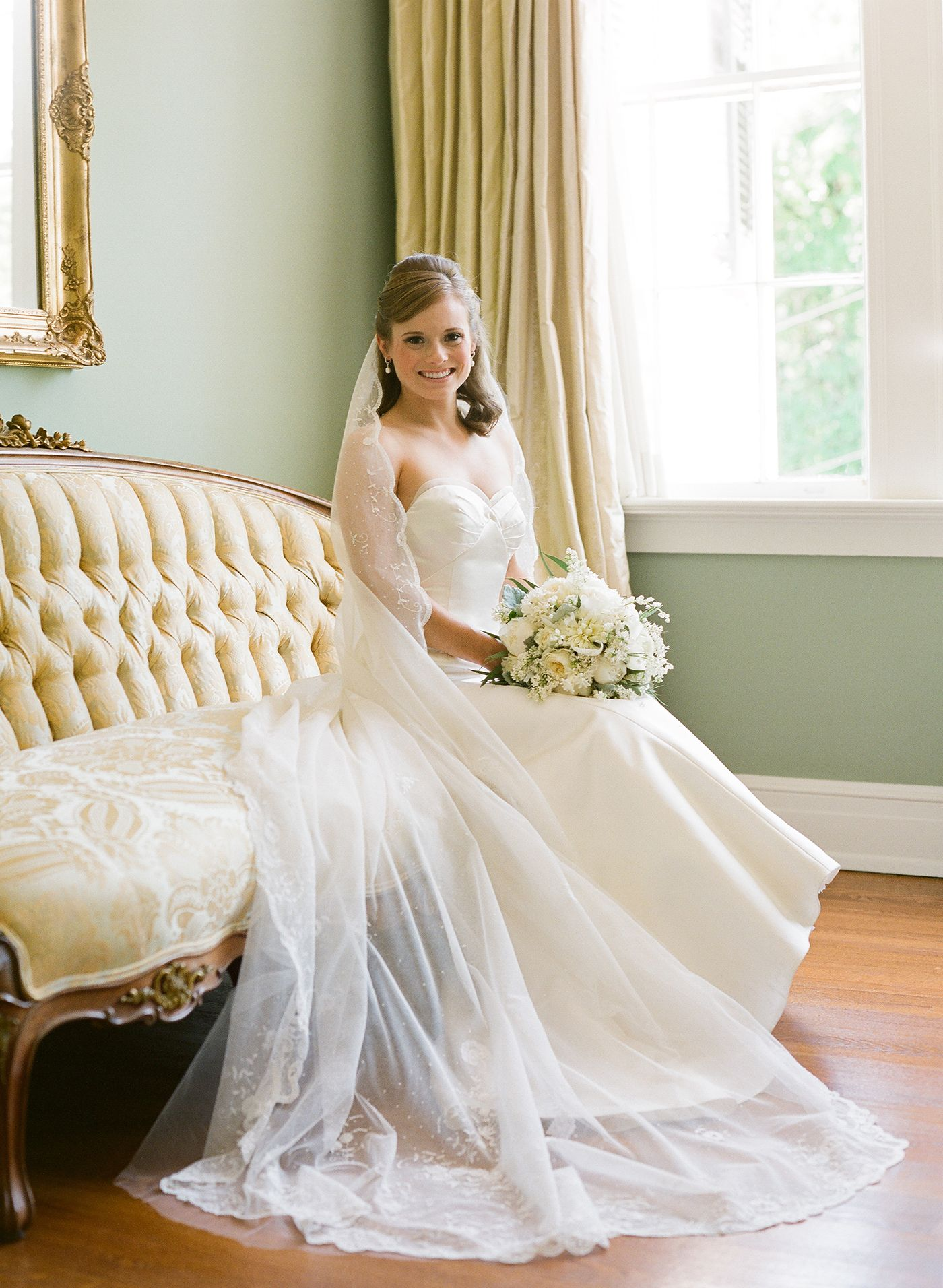 Augusta, GA wedding. Lace cathedral veil. Anne Barge Bridal ...