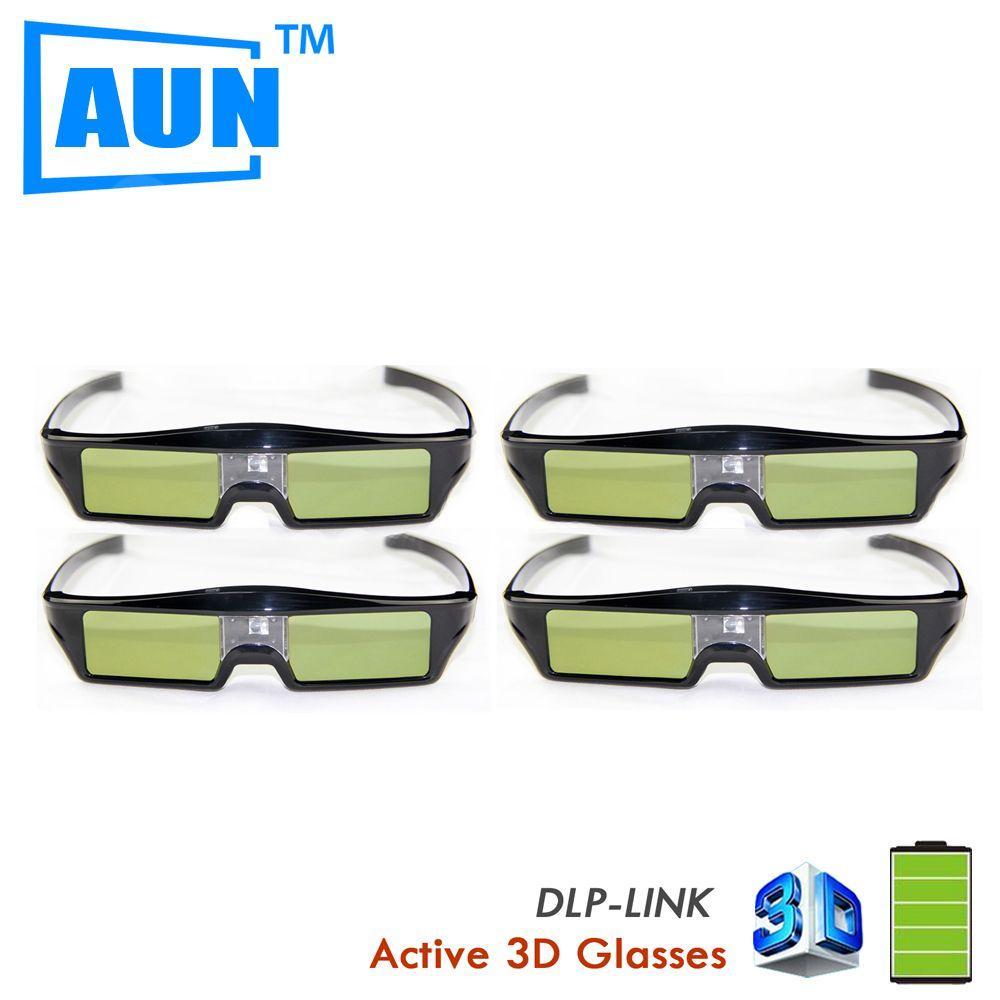 150f0186bbc3e Aliexpress.com  Compre Aun óculos de realidade Virtual 4 pçs lote dlp link 3D  óculos ativos definido em 3.7 v bateria de lítio Chip inteligente óculos 3D  ...