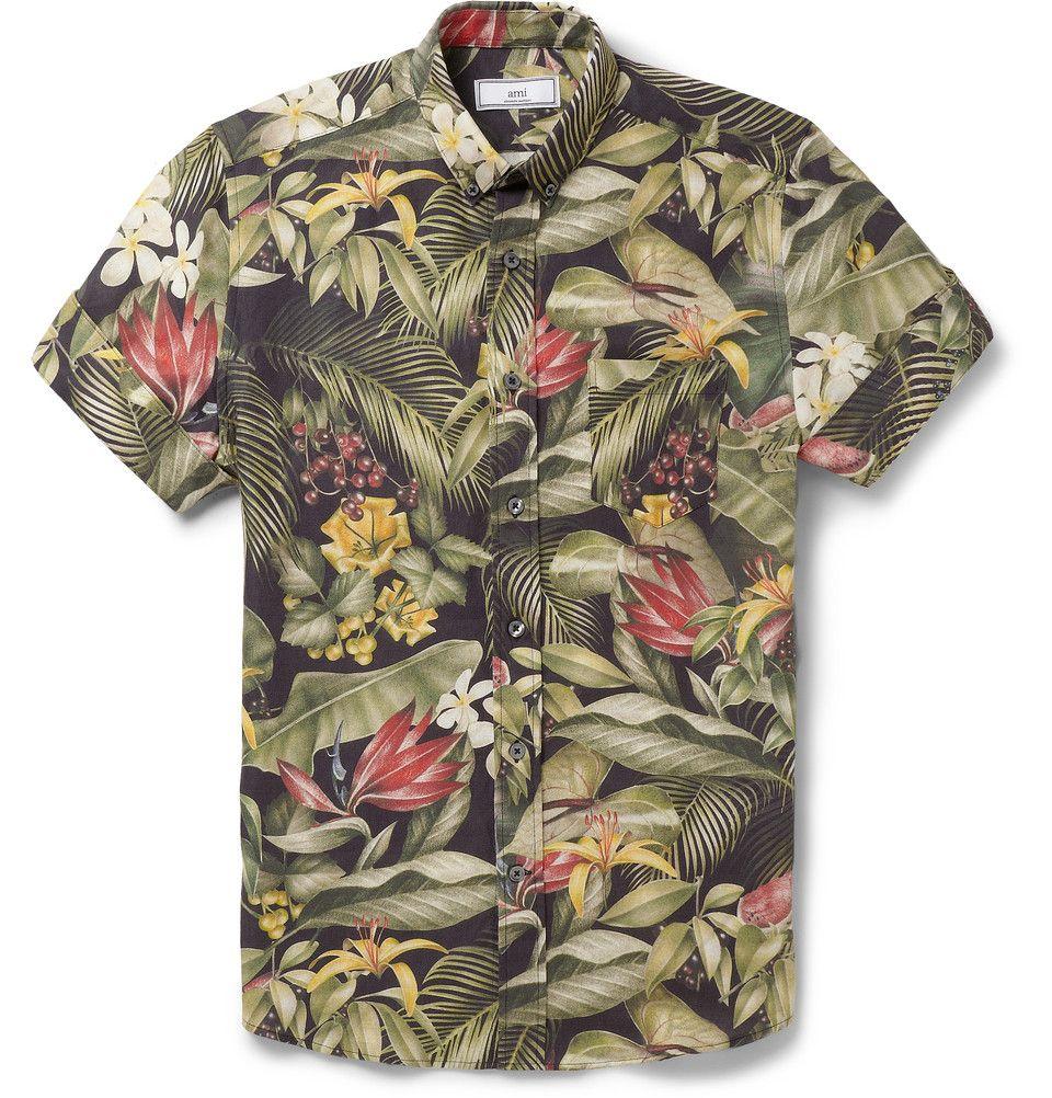 9f9b4c39 AMI - Botanical-Print Linen and Cotton-Blend Shirt | MR PORTER ...
