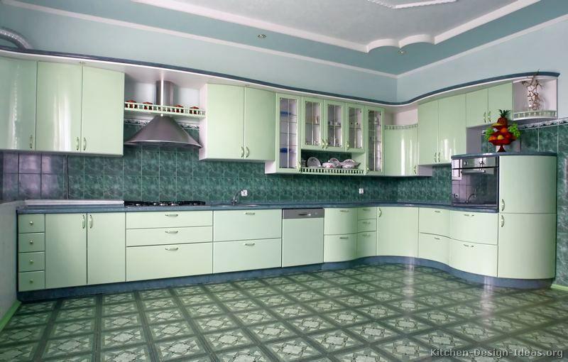 Modern Green Kitchen Cabinets #08 (Kitchen Design Ideas.org)