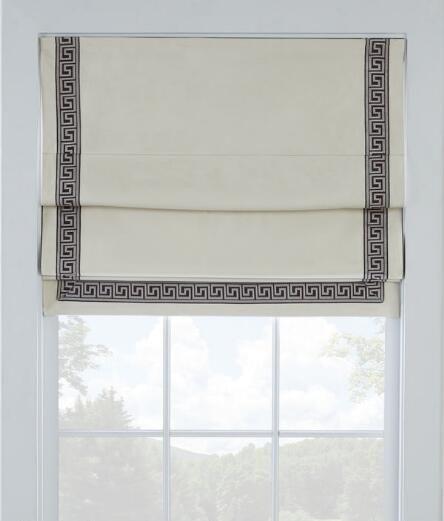Greek Key Trim Cordless Roman Shade Light Blocking Curtains