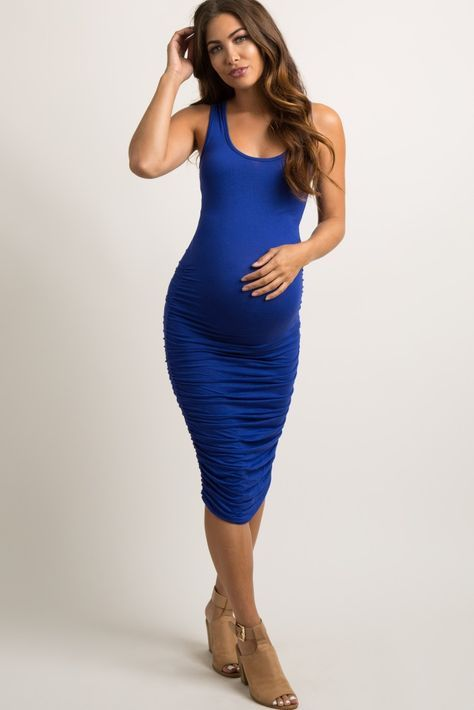 1860435c9d20f Royal Blue Solid Ruched Fitted Maternity Midi Dress | Stuff to buy ...