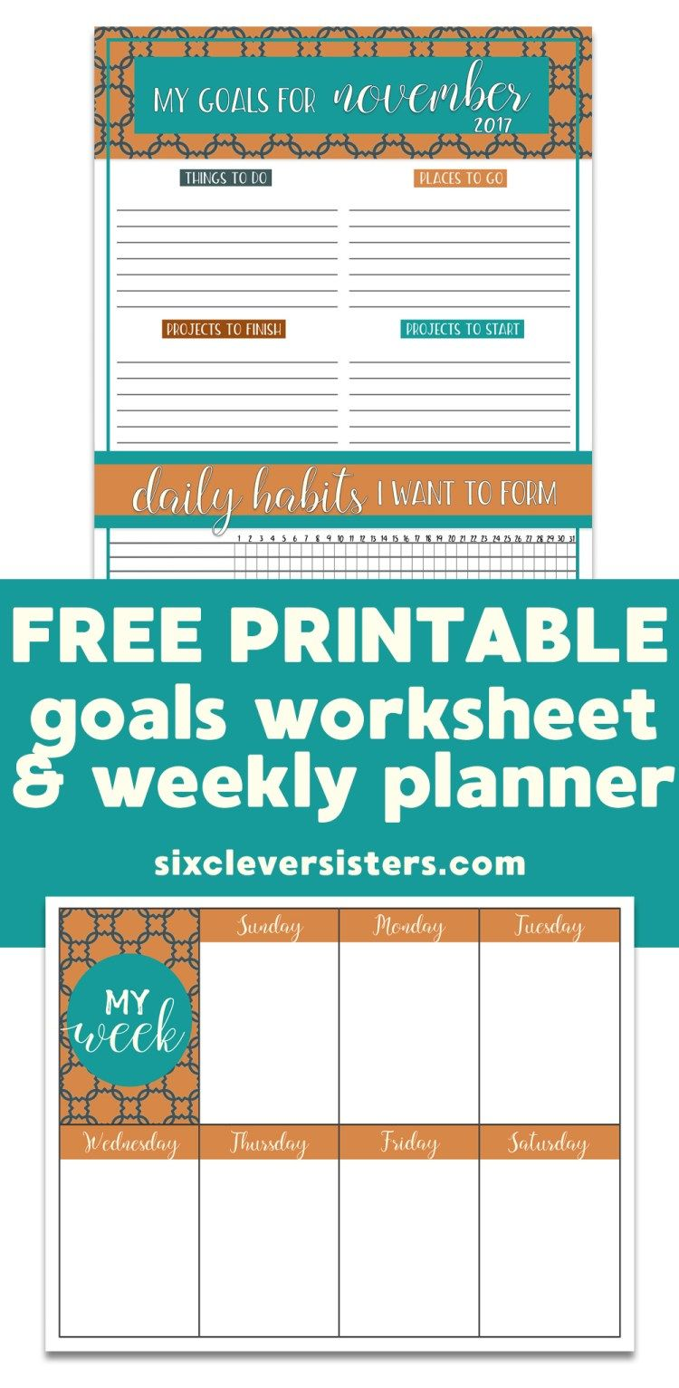 FREE PRINTABLE Goals Worksheet & Weekly Planner | Goals worksheet ...