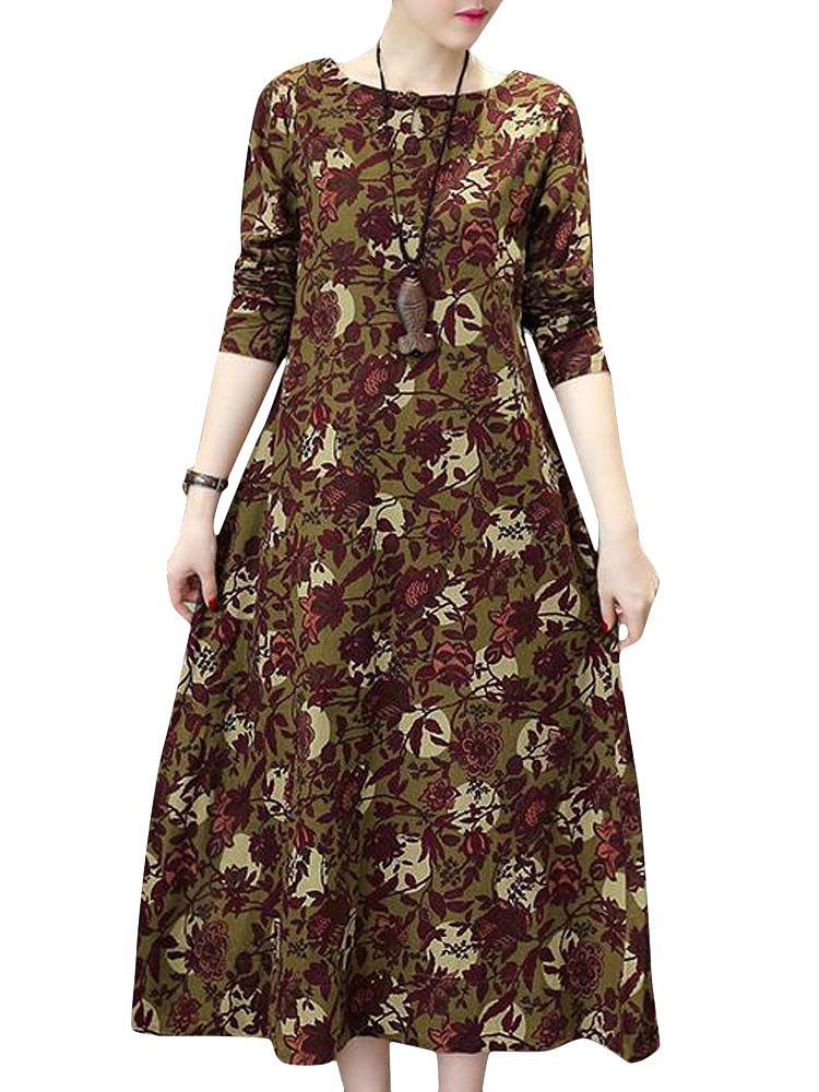 Sale 16% (24.99$) - Vintage Women Printing Floral Long Sleeve Loose Maxi Dress