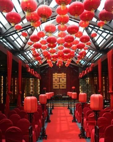 Hanging Red Paper Lantern Wedding With Chinese Influence Chinese Wedding Decor Traditional Chinese Wedding Oriental Wedding