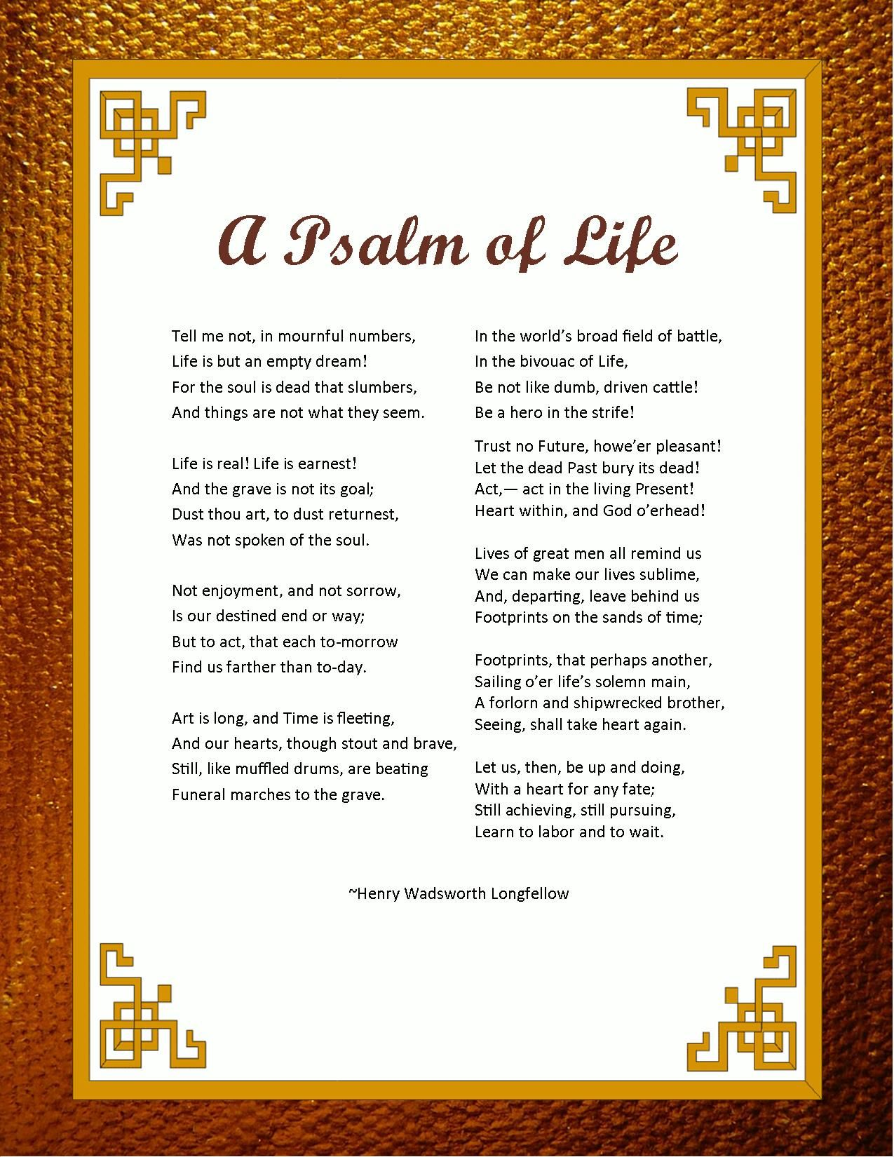 A Psalm Of Life By Henry Wadsworth Longfellow Psalm Of Life