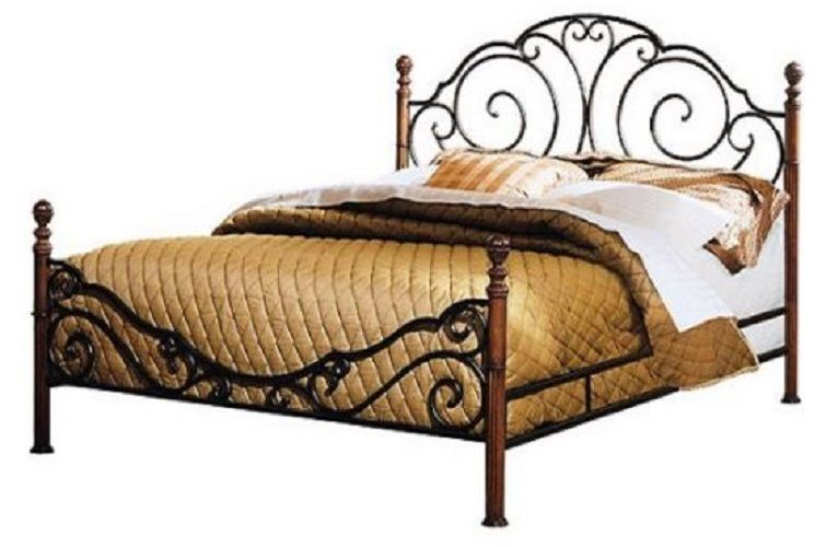 Wrought Iron Bed Frame Queen Headboard Footboard Metal Furniture ...
