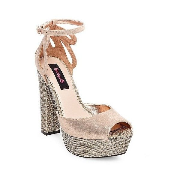 Women's Betseyville Daisy Glitter Mesh Platform Block Heel Sandals ($45) ❤ liked on Polyvore featuring shoes, sandals, rose gold, metallic shoes, metallic platform sandals, buckle platform sandals, platform shoes and block heel sandals