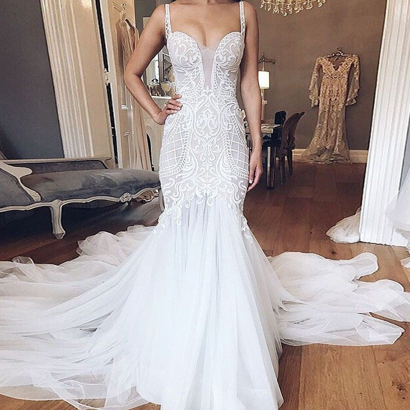 Pina Wedding Gown: Mermaid Style Backless Straps Court Train Wedding Dress