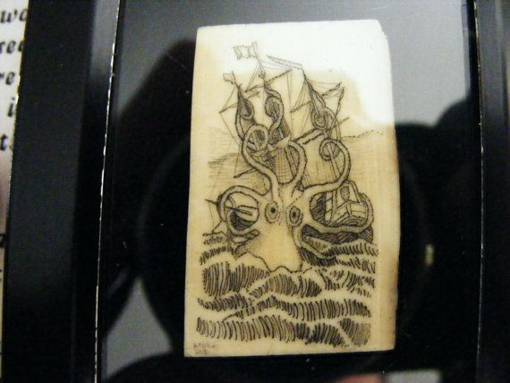Scrimshaw Kraken on a piece of Mammoth ivory. You can see how it was done on http://www.scrimshaw.com/category/projects/