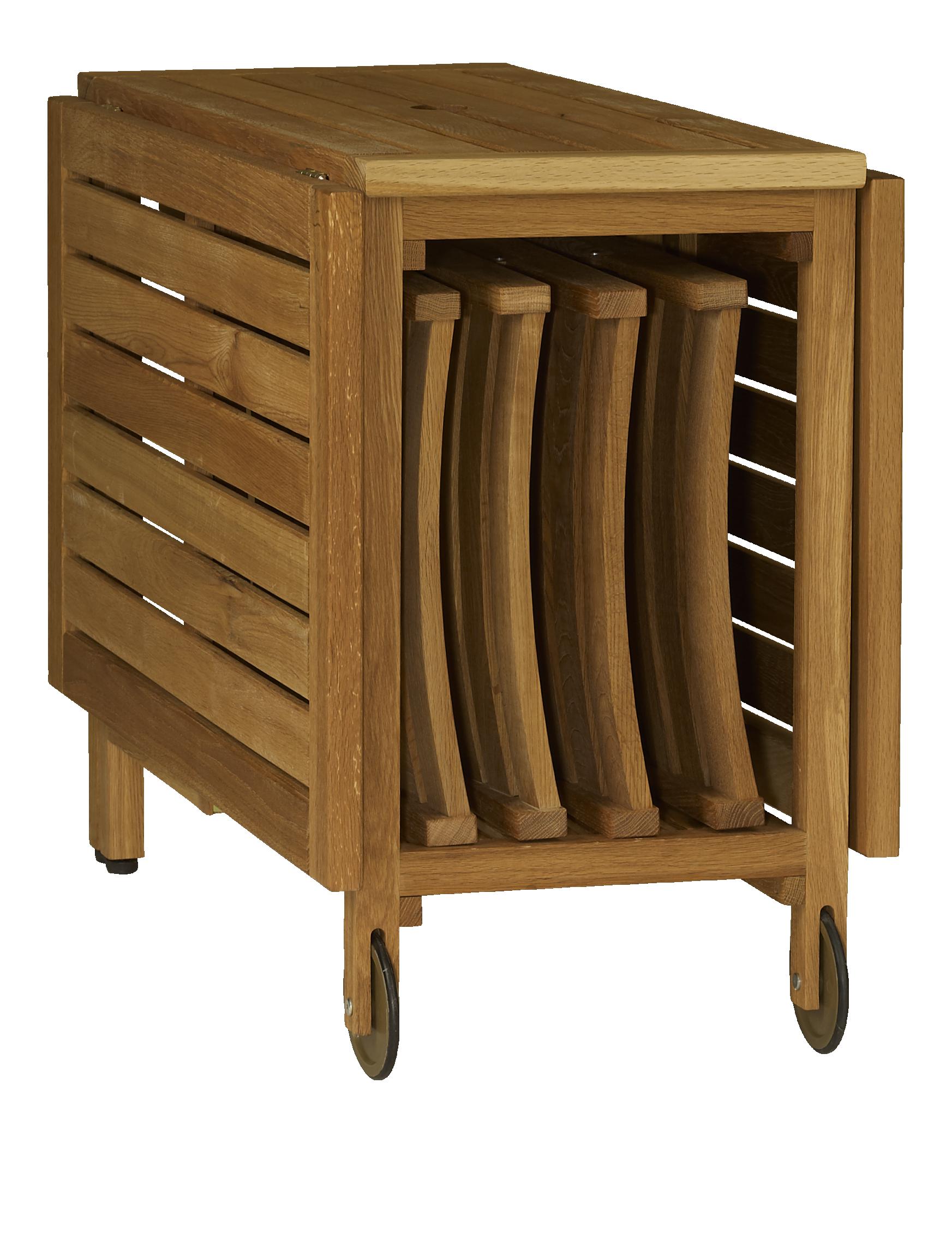Zeno table pliante et 4 chaises en ch ne massif huil Table en bois pliante