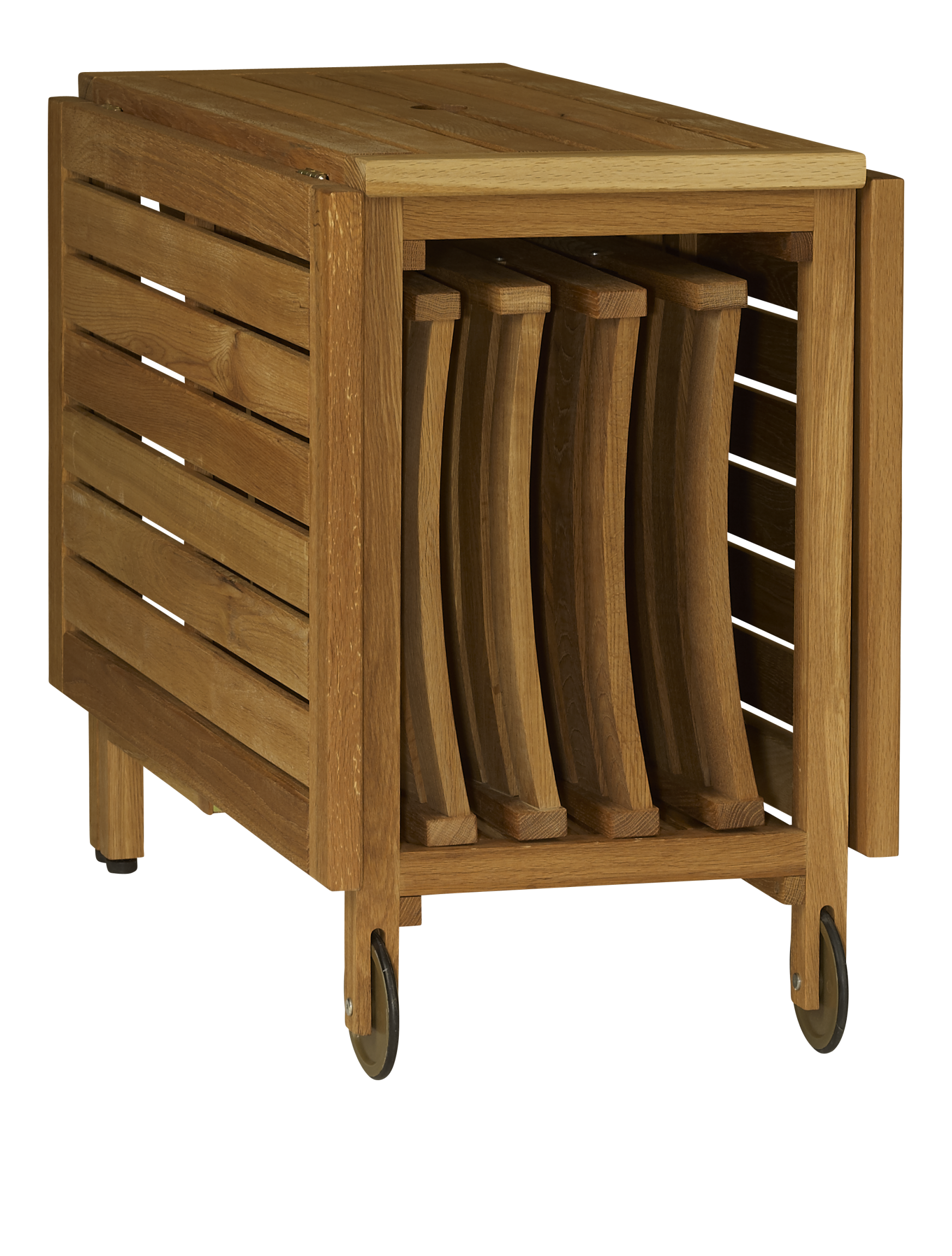 Zeno Table Pliante Et 4 Chaises En Chene Massif Huile 150 X 95