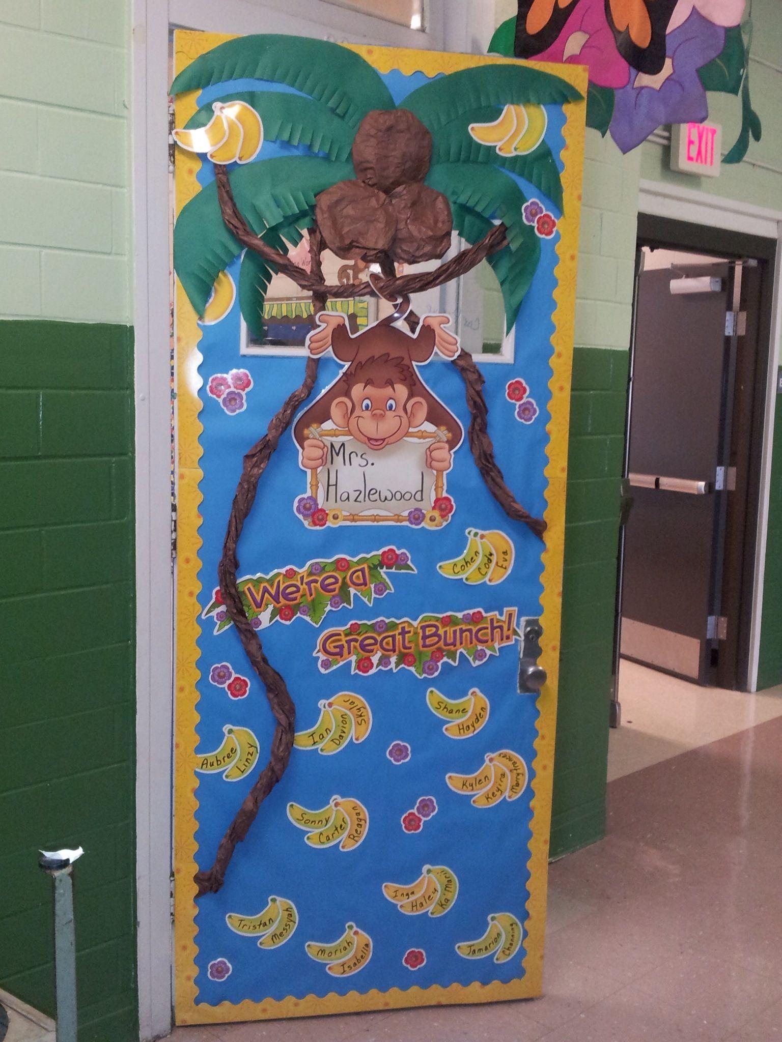 Monkey themed classroom door first grade pinterest for Back to school door decoration