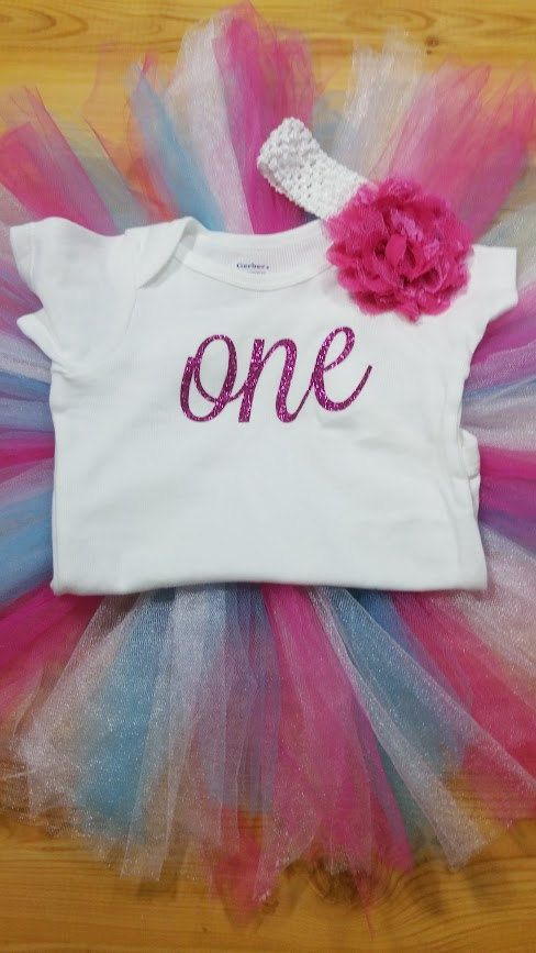 Pink and Blue First Birthday Outfit Girl Onesie Tutu Headband READY TO SHIP
