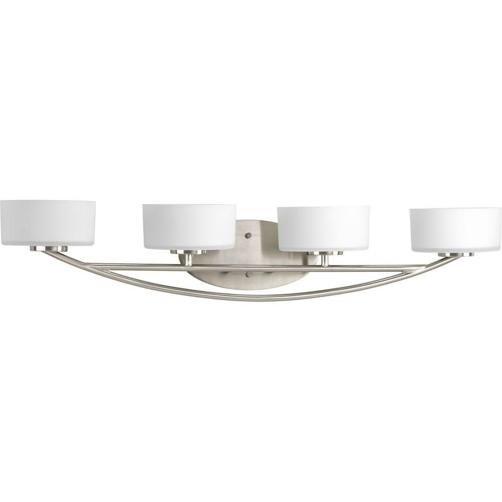 Progress Lighting Calven Collection 4 Light Brushed Nickel Bath P3236 09wb At The Home Depot