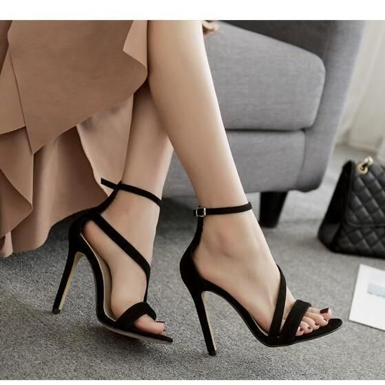 f109e62bd43 Classy Black Sandals With Ankle Strap on Luulla