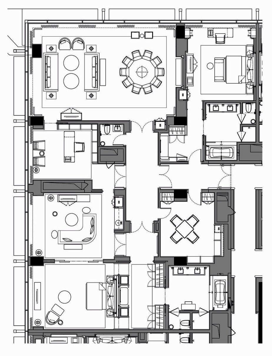 Room Design Floor Plan: WALDORF ASTORIA BEIJING PRESIDENTIAL SUITE 232 Sq. M