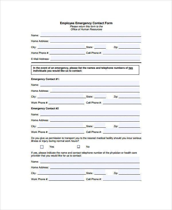 Employee Emergency Contact Form Template Elegant 8