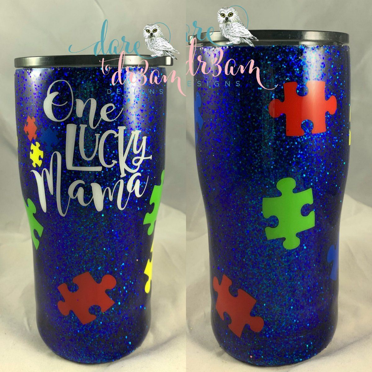 686a1ab785a One Lucky Mama Autism Awareness Personalized Glitter Tumbler | Dare ...