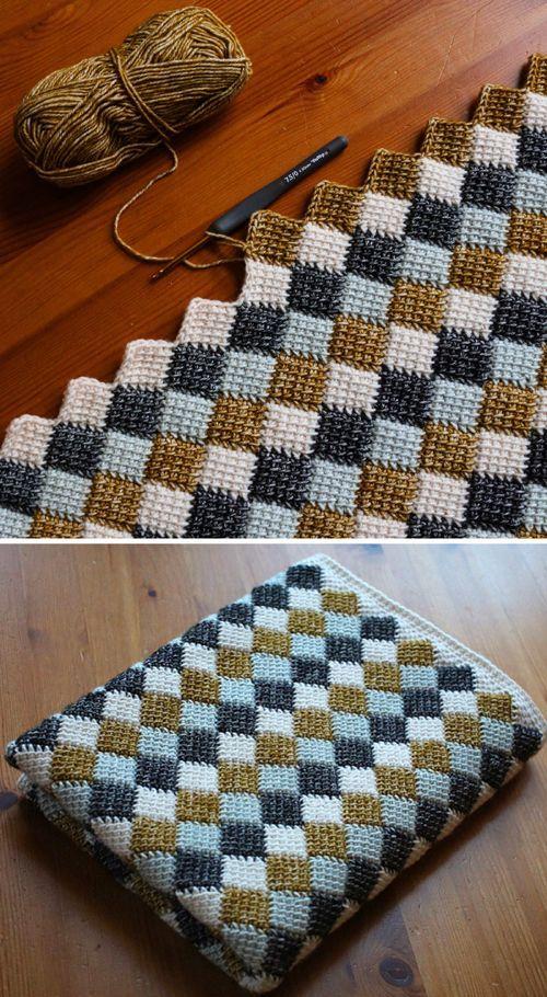 Photo of Entrelac blanket – free crochet pattern