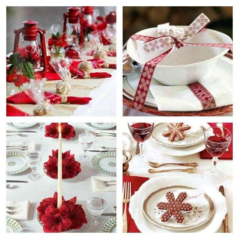 Decorazioni Natalizie Tavola.Decorazioni Tavola Di Natale In Rosso E Bianco Decorazioni Da Tavola Decorazioni Natale