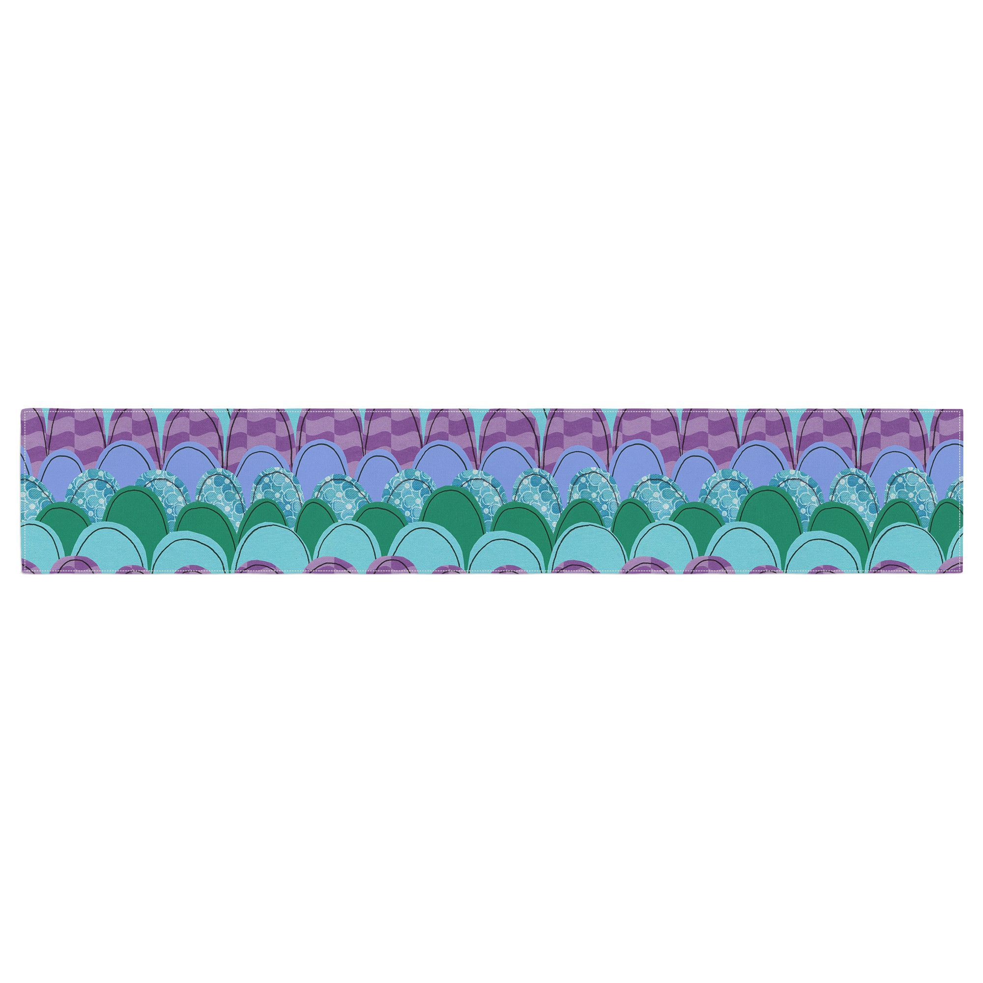"""Jane Smith """"Woodland Waves"""" Teal Purple Table Runner"""
