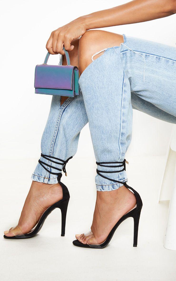 Black Clear Strap Ankle Tie Heels in