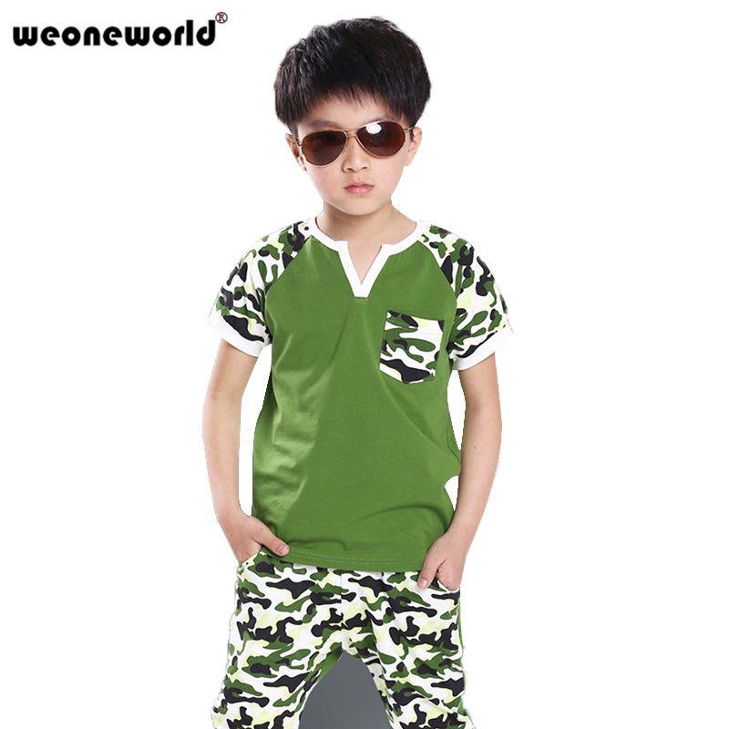 ... Pants de los niños establece camuflaje trajes deportivos para niños de  manga corta ropa del bebé del verano verde negro 6 14 T fa9f75fc6970f