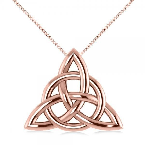 Allurez Triangular Irish Trinity Celtic Knot Pendant Necklace 14k Rose... (293.280 CLP) ❤ liked on Polyvore featuring jewelry, necklaces, rose gold pendant necklace, rose gold necklace, infinity necklace, triangle pendant necklace and circle pendant necklace