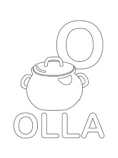 spanish alphabet coloring page o - Spanish Alphabet Coloring Pages
