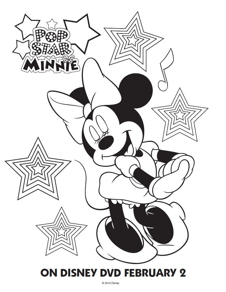 Pop Star Minnie Mouse Printable Coloring Pages & Friends