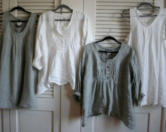 Summer Washed Linen ' Michèle' Shirt / Lagenlook Clothing / Shabby / Artists S.O.C. / Linen Shirt / Plus Size