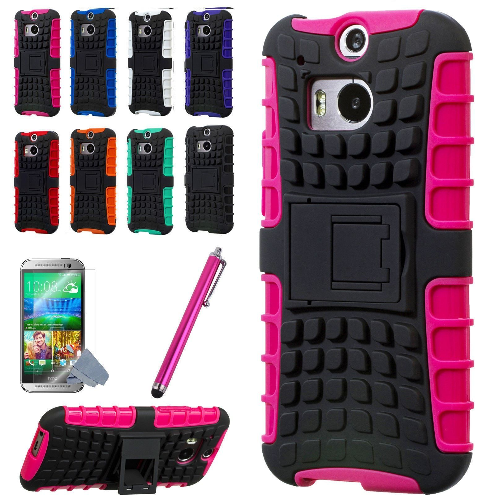 HTC One M8 Armor Shockproof Heavy Hard Stand Phone Case Cover + Protect Film