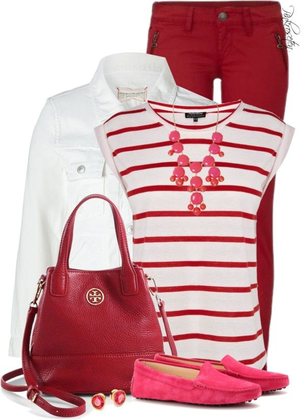 casual red, pink and white valentine outfit idea