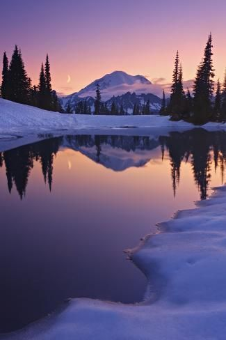 'Twilight, Tarn and Crescent Moon' Photographic Print - Geoffrey Schmid | Art.com
